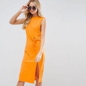 ASOS orange tie dress